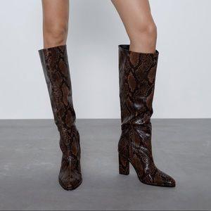 Zara heeled snake print boots